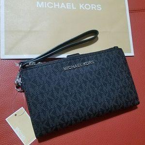 double zipper wristlet black wallet large carryall
